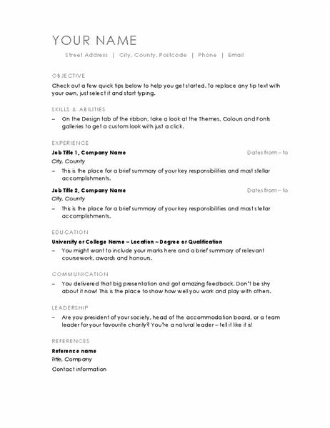 CV (Minimalist design)