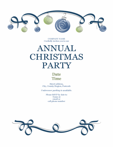 Christmas party flyer with ornaments and blue ribbon (Formal design)