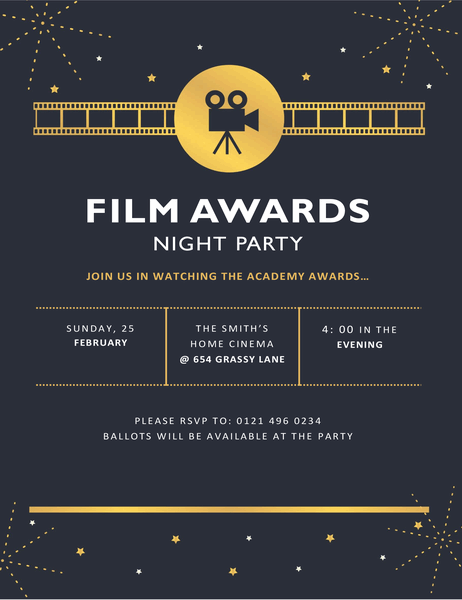 Film awards party invitation