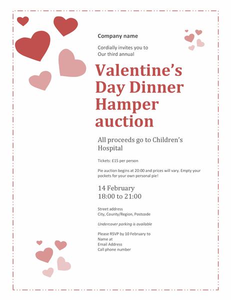 Valentine's Day Dinner Hamper auction invitation