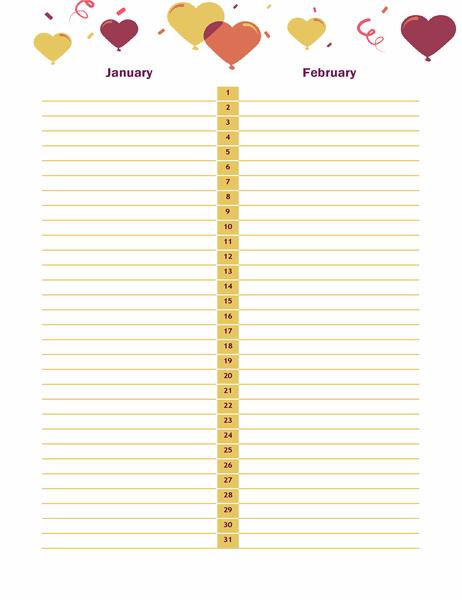 Birthday and anniversary calendar