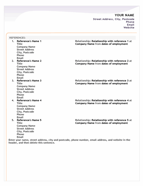 Entry-level CV reference sheet