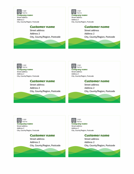 Shipping labels (Green wave design, six per page)