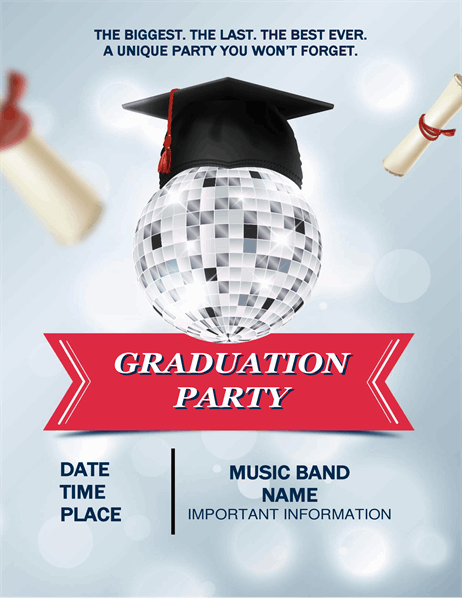Disco ball graduation party flyer
