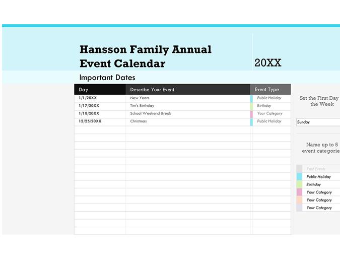 Family event calendar