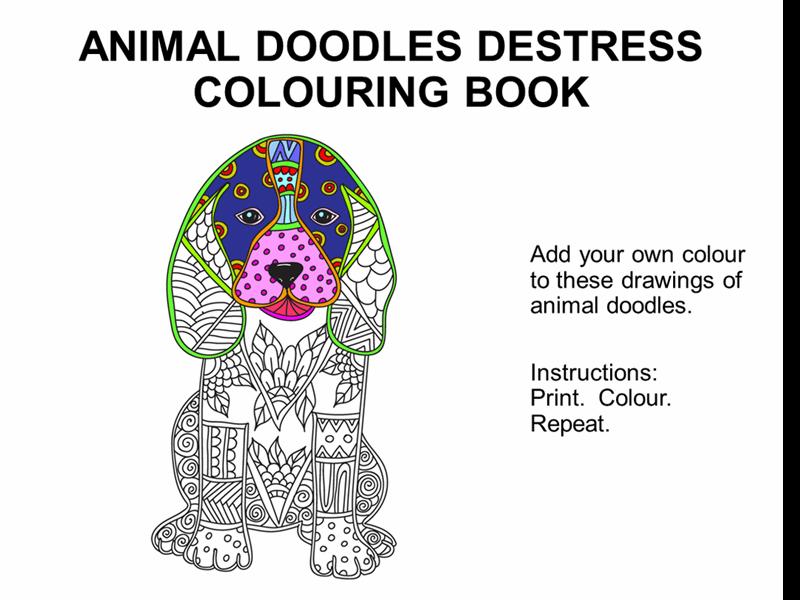 Animal doodles destress colouring book