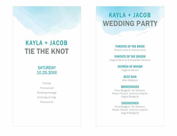 Watercolor wash wedding programme