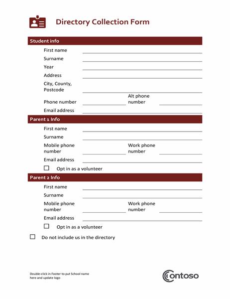 Directory collection form