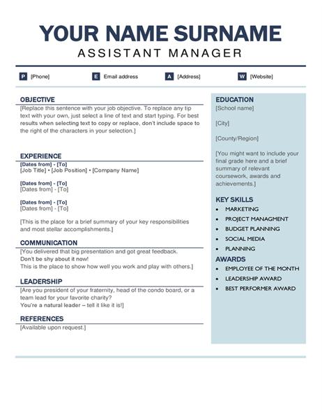 Organised modern resume