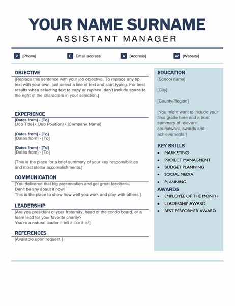 Organised modern resume