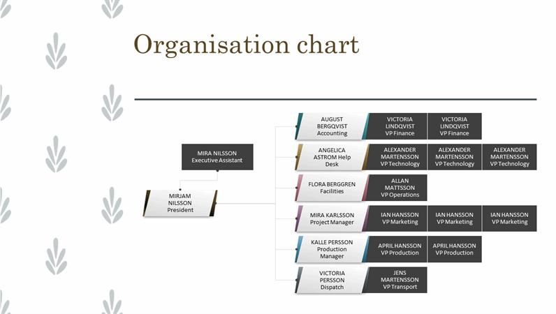Horizontal organisation chart