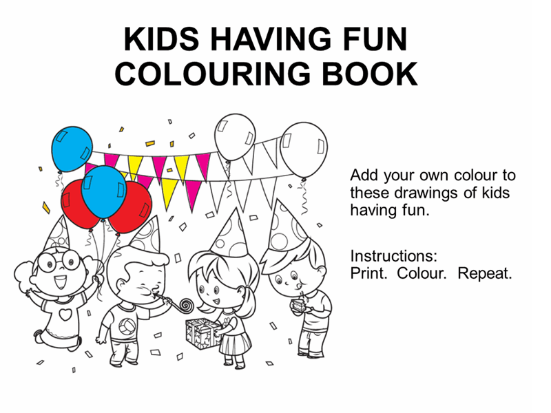 Kids having fun colouring book