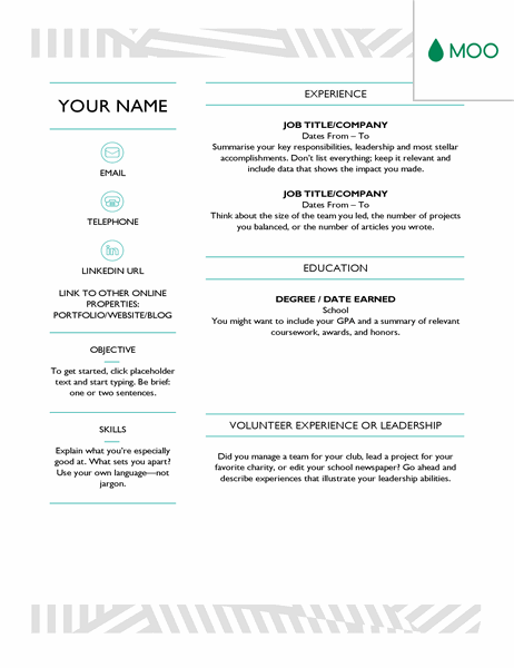 Creative CV, designed by MOO