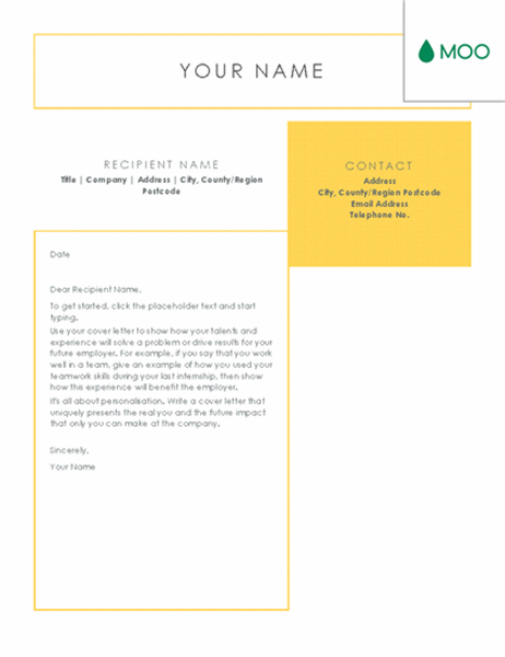 Crisp and clean cover letter, designed by MOO