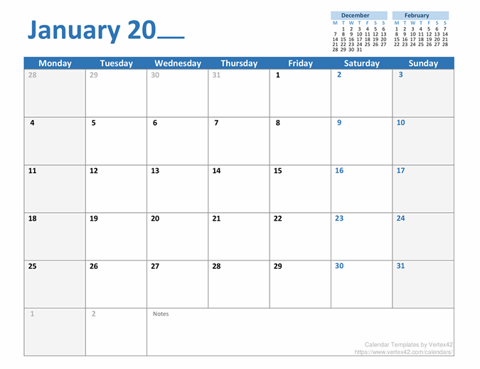 Any Year Monthly Calendar