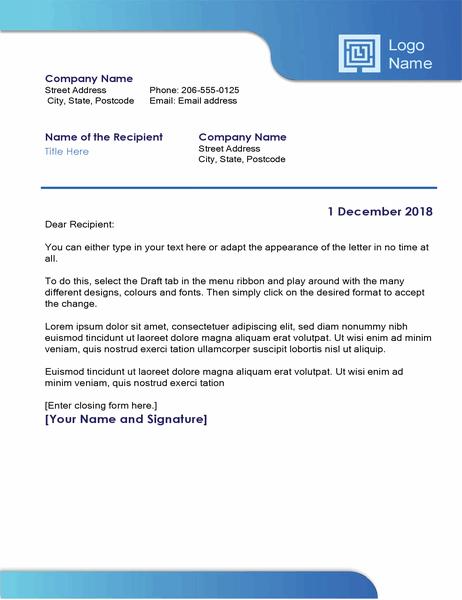 Business letter (blue border and colour gradient)