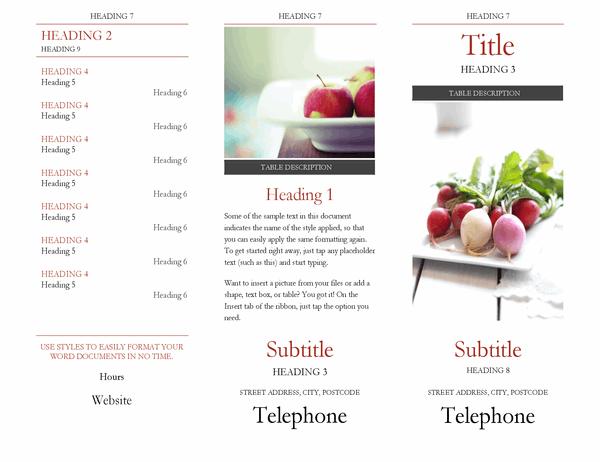 Brochure with headings