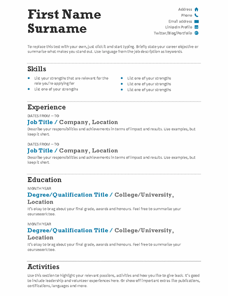 Balanced CV (Modern design)