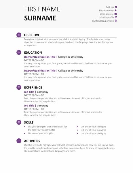 Student CV (Modern design)