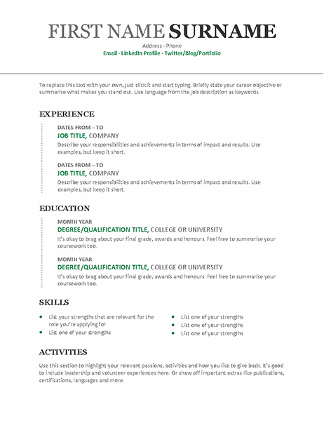 Chronological CV (Modern design)