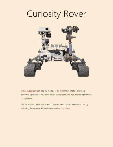 3D Word science report (Mars Rover model)