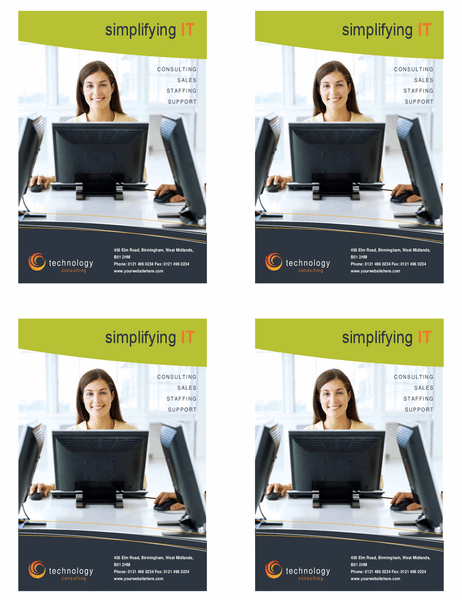 Technology business flyer (quarter-page, four per page)