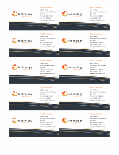 Technology business card (10 per page)