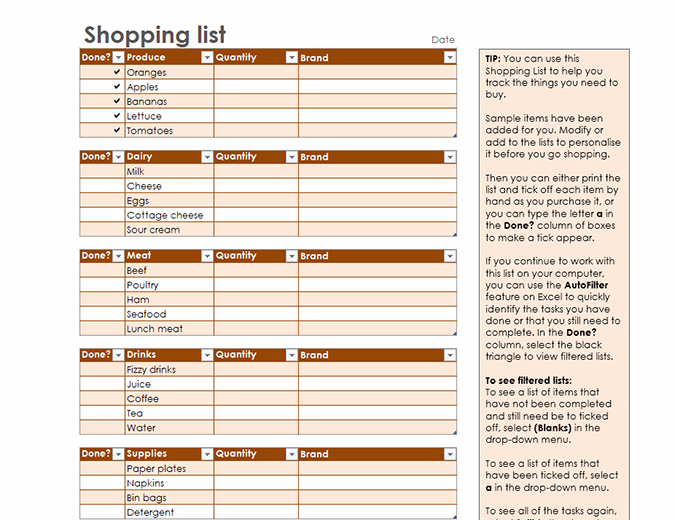 Grocery list with space for brand