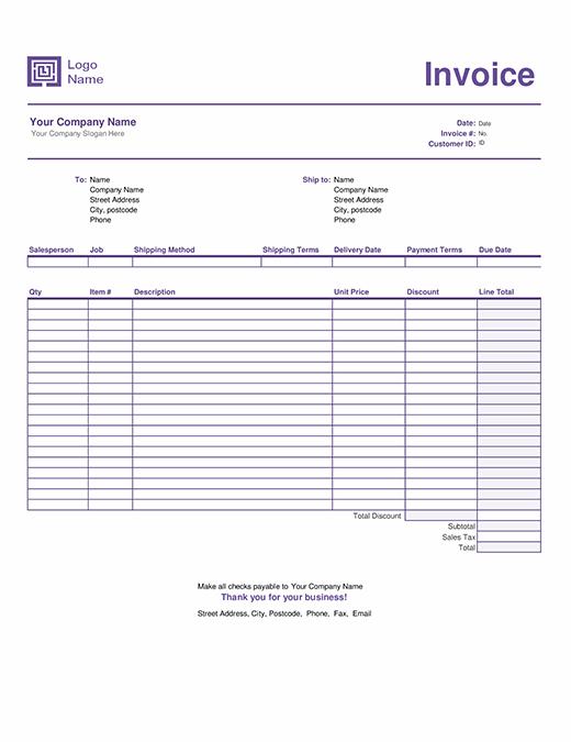Sales invoice (Simple Lines design)