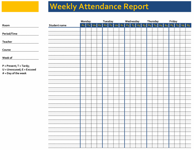 Weekly class attendance record (Simple)