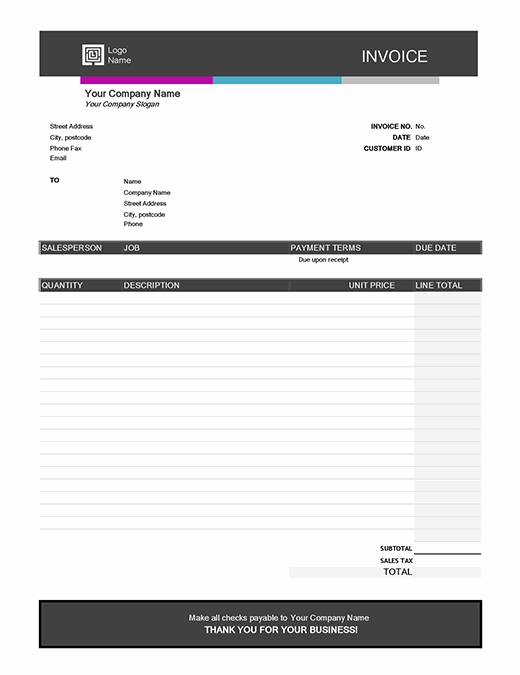 Service invoice (Blue Gradient design)
