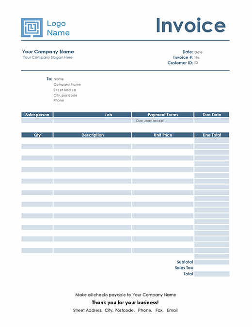 Service invoice (Simple Blue design)