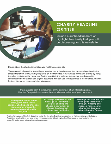 Charity newsletter