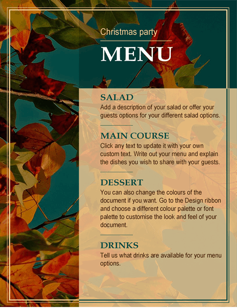 Autumn leaves Christmas menu