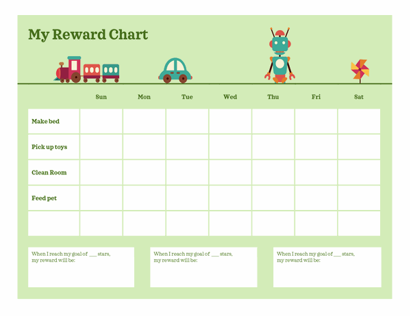 Monday to Friday reward chart