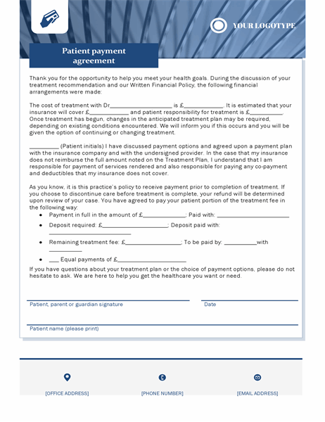 Patient payment agreement healthcare