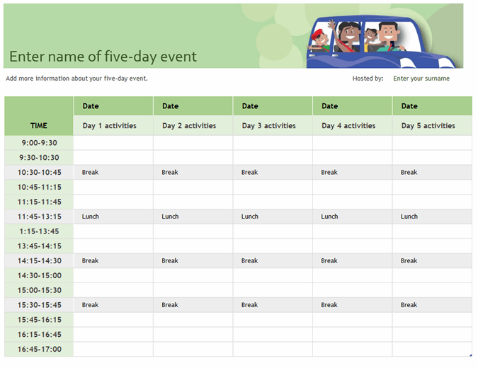 Family event schedule