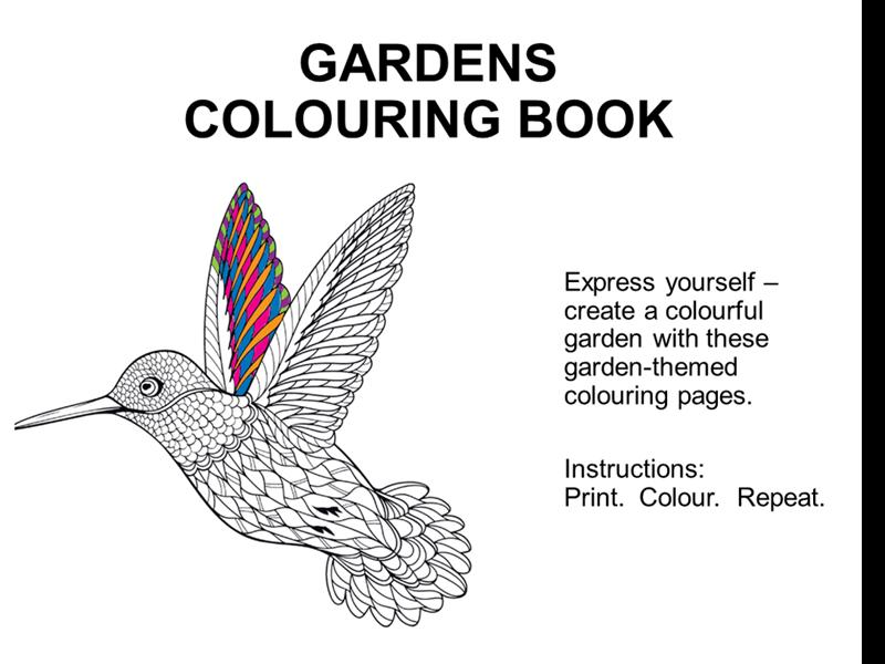 Gardens colouring book
