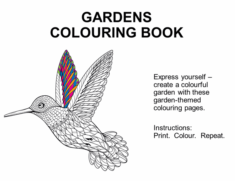 Gardens colouring book