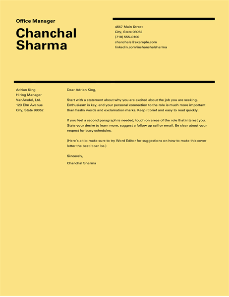 Swiss design cover letter