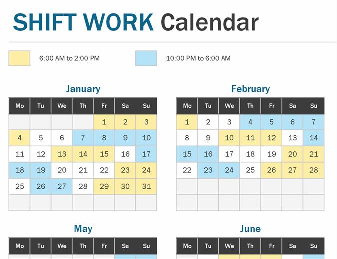 Shift work calendar year at a glance