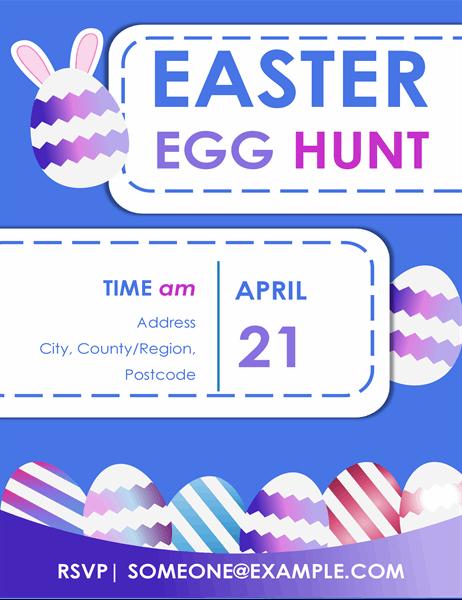 Blue Easter egg hunt flyer