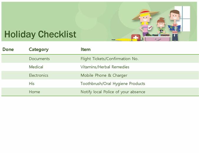 Family holiday checklist