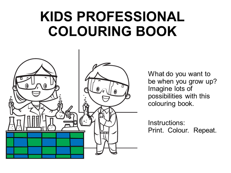 Kid professionals colouring book
