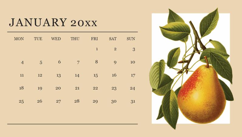 Botanicals monthly calendar