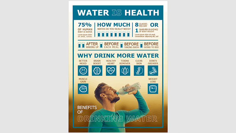Drink water infographics poster
