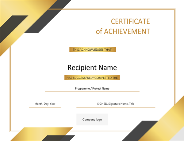 Formal award certificate