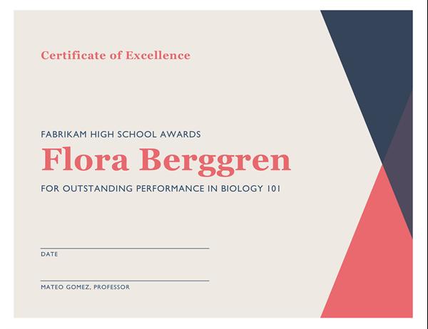 School achievement certificate