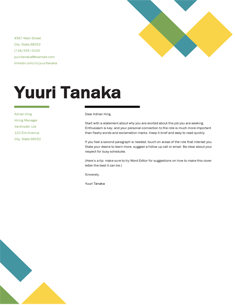 Geometric cover letter