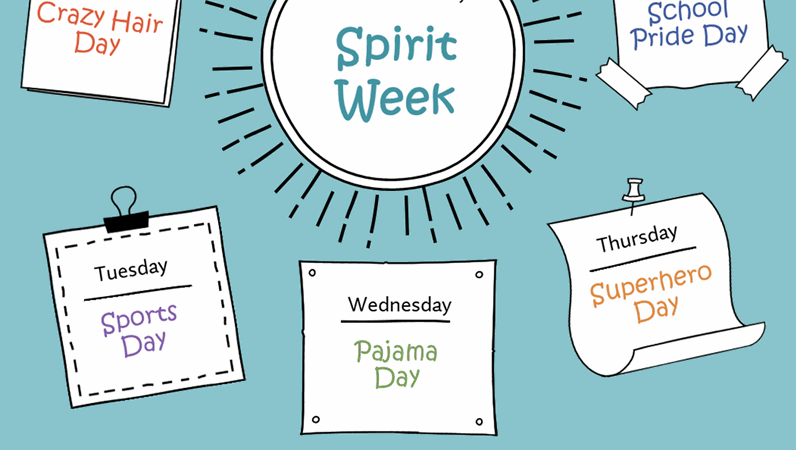 Spirit week calendar